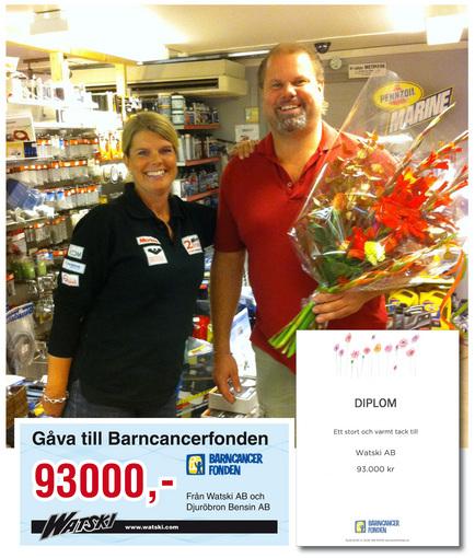 Watski auksjon ga 93 000,- til barnekreft fond!